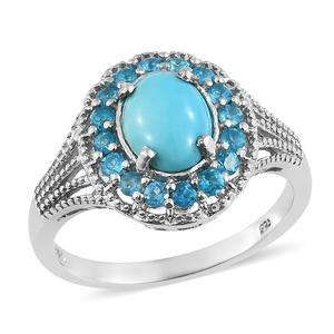 Arizona Sleeping Beauty Turquoise, Malgache Neon Apatite Platinum Over Sterling Silver Ring (Size 7.0) TGW 2.70 cts.