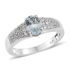 Espirito Santo Aquamarine, Cambodian Zircon Platinum Over Sterling Silver Ring (Size 7.0) TGW 1.42 cts.