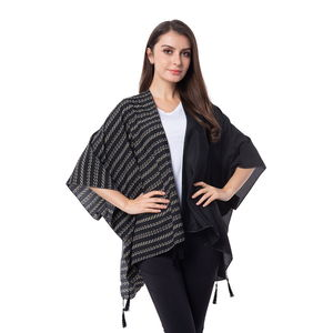 Black Solid and Stripe Pattern 100% Polyester Kimono with Tassles (38.59x29.76 in)