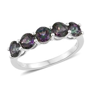 Northern Lights Mystic Topaz Platinum Over Sterling Silver 5 Stone Ring (Size 6.0) TGW 2.90 cts.