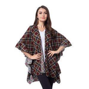 Red Chequer Pattern 100% Polyester Kimono (32.68x32.68 in)