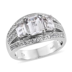 White Topaz Platinum Over Sterling Silver Ring (Size 6.0) TGW 3.70 cts.