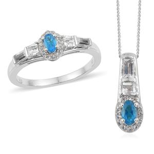 Malgache Neon Apatite, White Topaz Platinum Over Sterling Silver Ring (Size 10) and Pendant With Chain (20 in) TGW 1.51 cts.