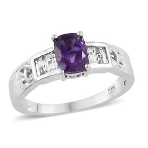 Moroccan Amethyst, White Topaz Platinum Over Sterling Silver Ring (Size 7.0) TGW 2.05 cts.