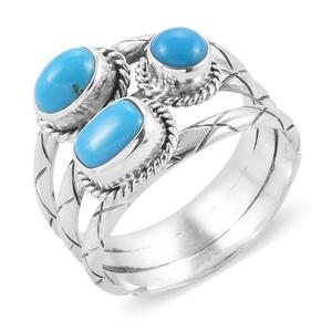 Bali Legacy Collection Arizona Sleeping Beauty Turquoise Sterling Silver Trilogy Ring (Size 7.0) TGW 2.60 cts.