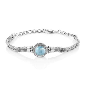 Bali Legacy Collection Larimar, White Zircon Sterling Silver Bracelet (7.50 In) TGW 3.25 cts.