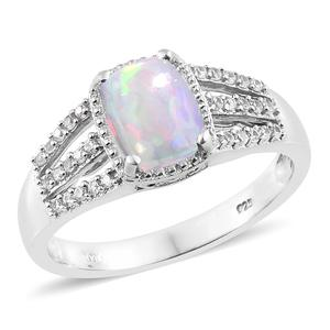 Ethiopian Welo Opal, Cambodian Zircon Platinum Over Sterling Silver Split Shank Ring (Size 8.0) TGW 1.48 cts.