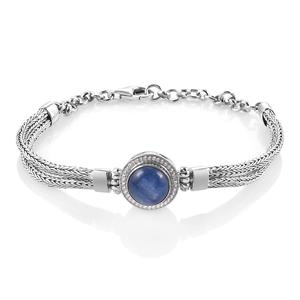 Bali Legacy Collection Himalayan Kyanite, White Zircon Sterling Silver Double Strand Tulang Naga Bracelet (7-8.5In) TGW 3.26 cts.