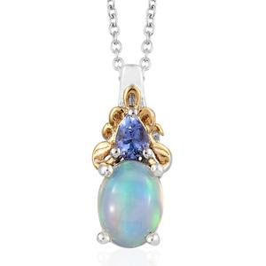 Ethiopian Welo Opal, Tanzanite 14K YG and Platinum Over Sterling Silver Pendant With Chain (20 in) TGW 1.05 cts.