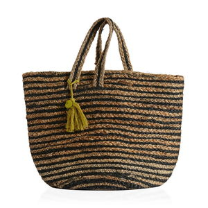 Black Stripe Natural 100% Jute Hand Braided Hessian Bag with Removable Pom Pom Tassels (17.5x10x9 in)