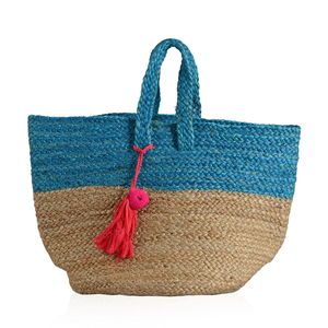 Blue 100% Jute Hand Braided Handbag with Removable Pom Pom Tassel (18x10x14 in)