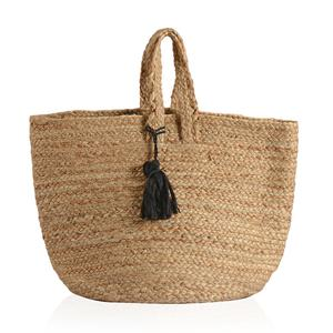 Natural 100% Jute Hand Braided Hessian Bag with Removable Black Pom Pom Tassels (17.5x10x9 in)