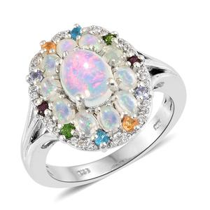 Ethiopian Welo Opal, Multi Gemstone Platinum Over Sterling Silver Ring (Size 10.0) TGW 2.80 cts.
