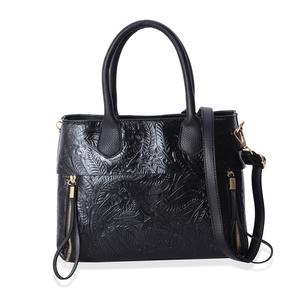 Black Floral Embossed Faux Leather Structure Bag with Removable Strap and Standing Studs (12x4x9.5 in)