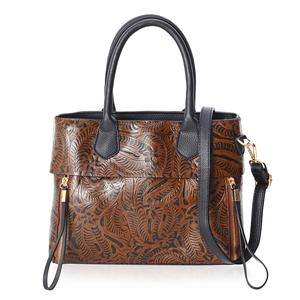 Brown Faux Leather Embossed Floral Pattern Tote Bag (11.4x5x9.4 in)