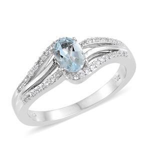 Espirito Santo Aquamarine, Cambodian Zircon Platinum Over Sterling Silver Ring (Size 7.0) TGW 0.94 cts.