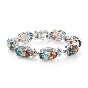 Aqua Terra Costa Quartz, Multi Gemstone Platinum Over Sterling Silver Bracelet (7.25 In) TGW 66.22 cts.