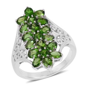 Russian Diopside Sterling Silver Floral Elongated Ring (Size 5.0) TGW 3.40 cts.