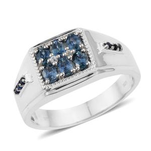 Montana Sapphire, Multi Gemstone Platinum Over Sterling Silver Men's Signet Ring (Size 13.0) TGW 1.57 cts.