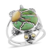 Santa Fe Style Mojave Green Turquoise, Mother of Pearl Sterling Silver Turtle Ring (Size 10.0) TGW 3.50 cts.