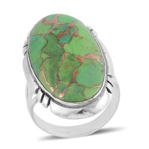 Santa Fe Style Mojave Green Turquoise Sterling Silver Ring (Size 7.0) TGW 4.50 cts.