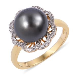 Tahitian Pearl (11-12 mm), White Zircon 14K YG Over Sterling Silver Flower Ring (Size 7.0) TGW 0.50 cts.