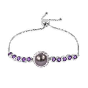 Tahitian Pearl (10-10.5 mm), Multi Gemstone Sterling Silver Bolo Bracelet (Adjustable) 0 TGW 2.00 cts.