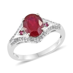Niassa Ruby, Multi Gemstone Platinum Over Sterling Silver Ring (Size 9.0) TGW 4.24 cts.