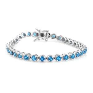 Malgache Neon Apatite Platinum Over Sterling Silver Tennis Bracelet (7.25 In) TGW 5.84 cts.