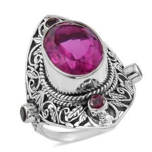 Artisan Crafted Radiant Orchid Quartz, Orissa Rhodolite Garnet Sterling Silver Openwork Knuckle Ring (Size 8.0) ts. TGW 11.05 cts.