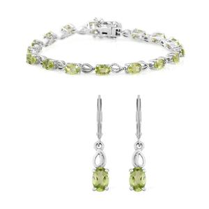 Hebei Peridot Platinum Over Sterling Silver Bracelet (7.25 In) and Earrings TGW 8.40 cts.