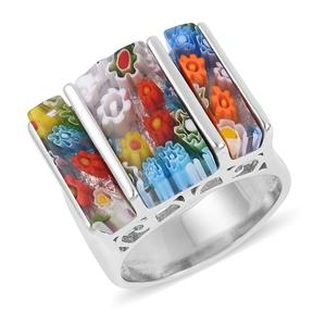 Murano Millefiori Glass Stainless Steel Ring (Size 9.0) TGW 5.00 cts.