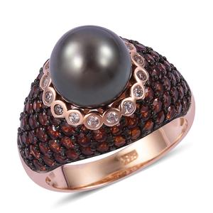 Tahitian Pearl (10-11 mm), Multi Gemstone Two-Tone Plating Sterling Silver Ring (Size 6.0) TGW 11.40 cts.