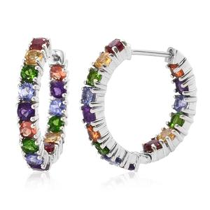 Multi Gemstone Platinum Over Sterling Silver Inside Out Hoop Earrings TGW 3.96 cts.