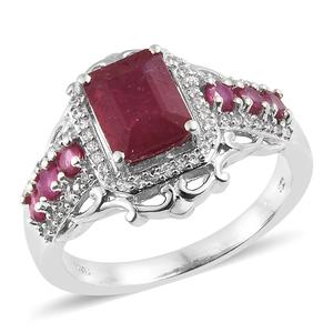 Niassa Ruby, Cambodian Zircon Platinum Over Sterling Silver Ring (Size 7.0) TGW 4.82 cts.