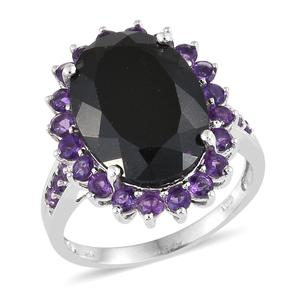 Nitin's Knockdown Deals Australian Black Tourmaline, Amethyst Platinum Over Sterling Silver Ring (Size 8.0) TGW 15.47 cts.