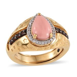 GP Oregon Peach Opal, Multi Gemstone Vermeil YG Over Sterling Silver Ring (Size 7.0) TGW 2.70 cts.