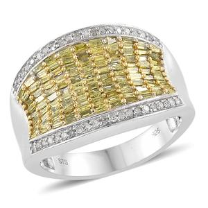 Yellow Diamond (IR), Diamond Yellow Rhodium & Platinum Over Sterling Silver Ring (Size 7.0) TDiaWt 1.00 cts, TGW 1.00 cts.