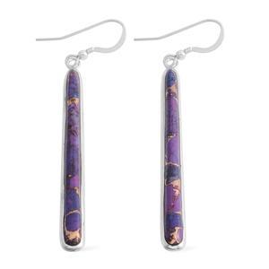 Santa Fe Style Mojave Purple Turquoise Sterling Silver Drop Earrings TGW 5.00 cts.
