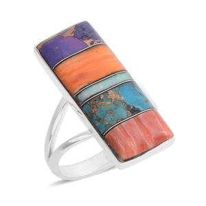 Santa Fe Style Lab Created Opal, Multi Gemstone Sterling Silver Elongated Split Ring (Size 7.0) TGW 1.25 cts.