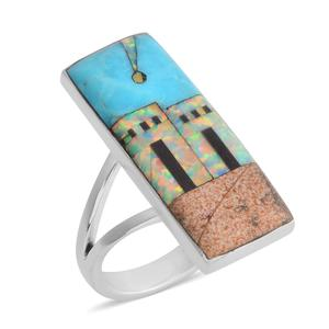 Santa Fe Style Kingman Turquoise, Multi Gemstone Sterling Silver Split Ring (Size 8.0) TGW 2.25 cts.
