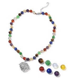 MEGA CLEARANCE Set of 7 Multi Gemstone Stainless Steel Chakra Charms with Pendant and Beaded Necklace (18-22 in) TGW 312.00 cts.