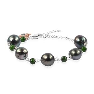 Tahitian Pearl (11-12 mm), Russian Diopside 14K RG Over and Sterling Silver Bracelet (8.00 In) TGW 6.18 cts.