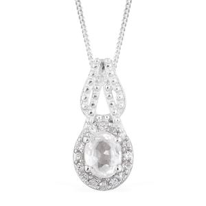 Natural White Zircon Platinum Over Sterling Silver Pendant With Chain (20 in)