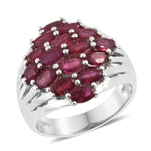 Niassa Ruby Platinum Over Sterling Silver Ring (Size 6.0) TGW 5.45 cts.