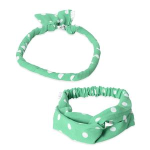 Green 100% Polyester Dot Pattern Hairband (18x.75 in) and Necklace Scarf (18x.5 in)
