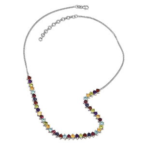 GP Mozambique Garnet, Multi Gemstone Platinum Over Sterling Silver Necklace (18 in) TGW 12.80 cts.