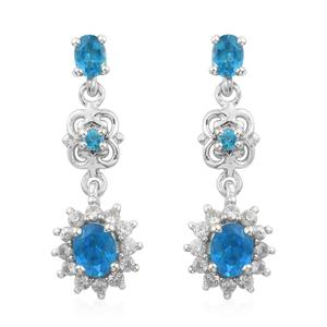 Artisan Crafted Malgache Neon Apatite, Cambodian Zircon Platinum Over Sterling Silver Dangle Earrings TGW 1.69 cts.