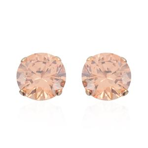 Simulated Champagne Diamond 14K YG Over Sterling Silver Stud Earrings TGW 2.00 cts.