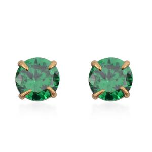 14K YG Simulated Green Diamond Stud Earrings TGW 0.25 cts.